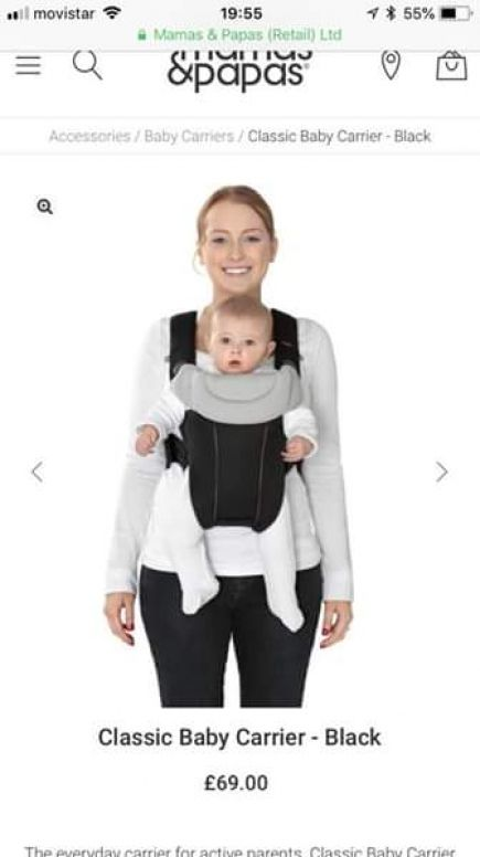 anuncio mamas & papas - classic baby carrier (red colour) new cost 80€