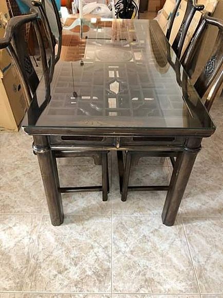 anuncio chinese style wooden glass top table and 4 matching chairs